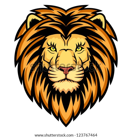 lion head logo this vector illustration stock vector 123767464