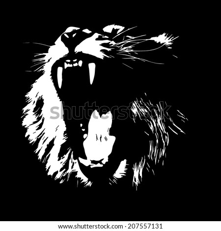 A lion, isolated on black background. The King of beasts, biggest cat of the world. Most dangerous predator with open chaps. Great for user pic, icon, label or tattoo. Black and white vector image. - stock vector
