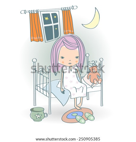 A little baby girl sitting on bed with a teddy bear  - stock vector
