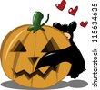 A little bat meets a pumpkin! It's love at first sight! - stock vector
