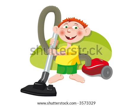 A little boy with the red vacuum-cleaner. Vector Illustration.
