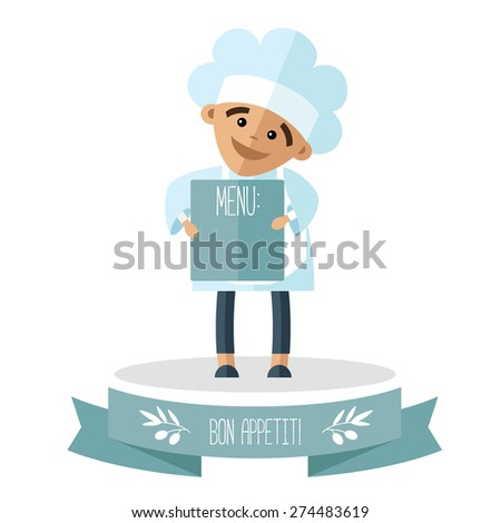 A little cook with menu on the pedestal. - stock vector
