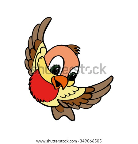 a little cute bird. bullfinch bird vector illustration.