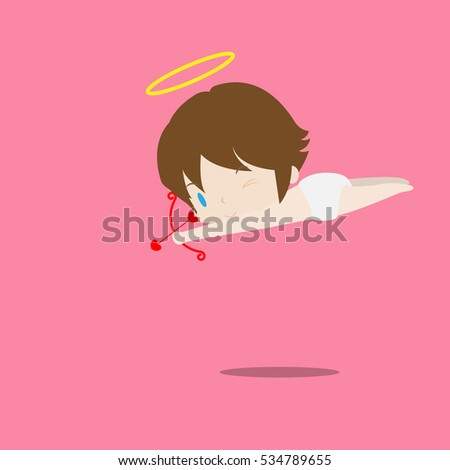 a little cute cupid aiming his bow at someone. Illustration of a Valentine's Day. Vector. Isolated on pink background