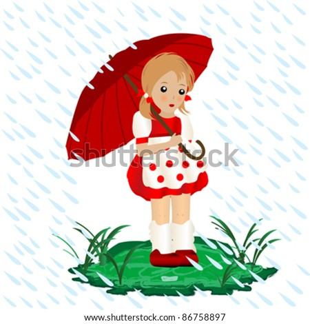 a little girl in the rain with an umbrella illustration - stock vector