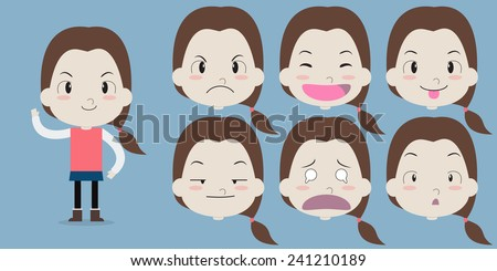 A little girl with emotion face - Vector - stock vector