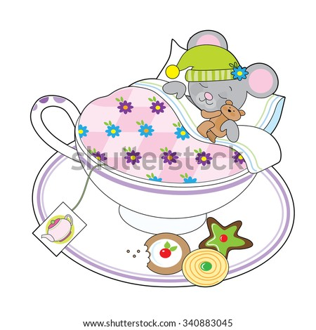 A little grey mouse and his teddy bear are asleep in a teacup.  - stock vector