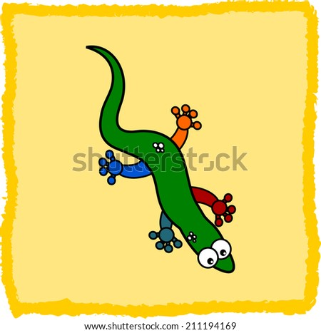 a lizard multicolor on a yellow background - stock vector