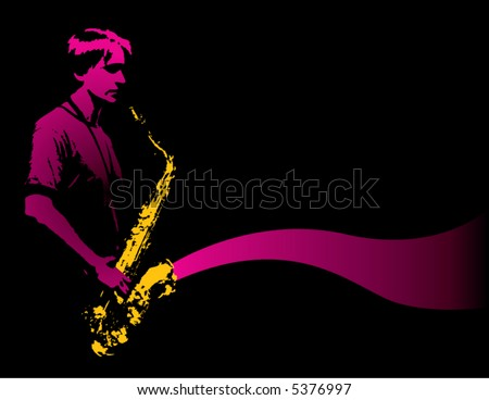A lone sax player with golden sax - stock vector