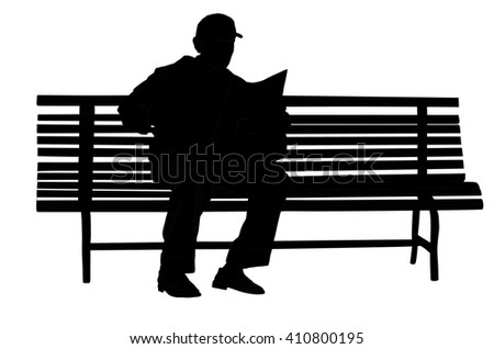 A lonely man sitting on a park bench and read newspapers, vector silhouette illustration isolated on white background. Free time.