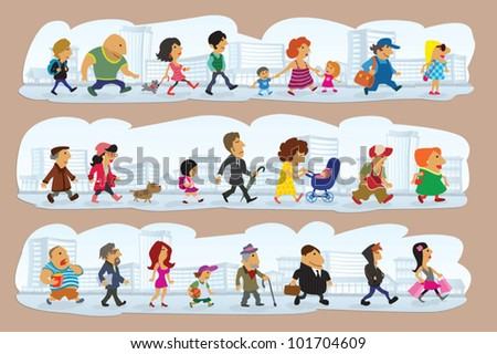a lot characters on street, vector illustration & character design - stock vector