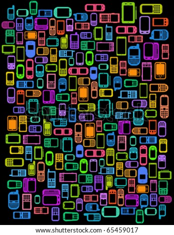 A lot of Cellphones and Smartphones in black background - stock vector