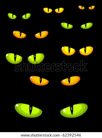 A lot of dangerous green and yellow wild cat eyes in darkness - stock vector