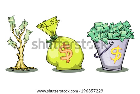 a lot of dollar cartoon illustration - stock vector