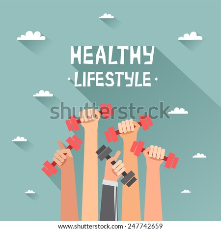 A lot of hands hold dumbbells on sky background and Healthy Lifestyle title. Sport revolution concept. Vector colorful illustration in flat design - stock vector