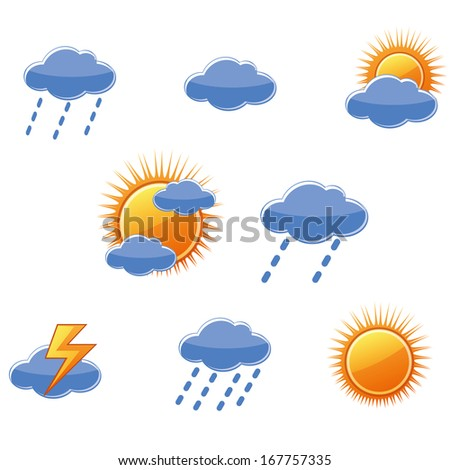 a lot of icons representing the clouds, sun and thunders