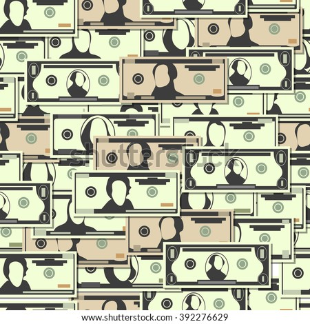A lot of money. Dollars seamless pattern - stock vector