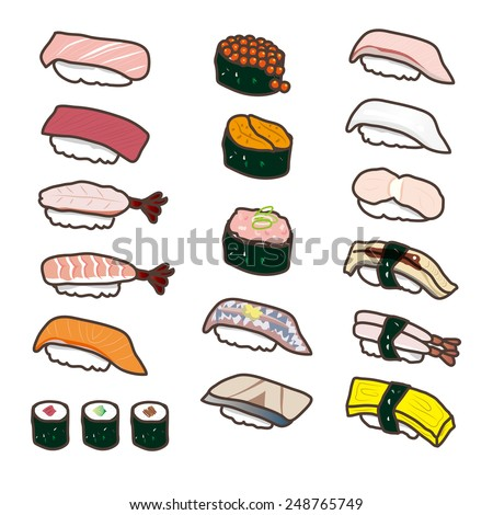 A lot of sushi illustration - stock vector