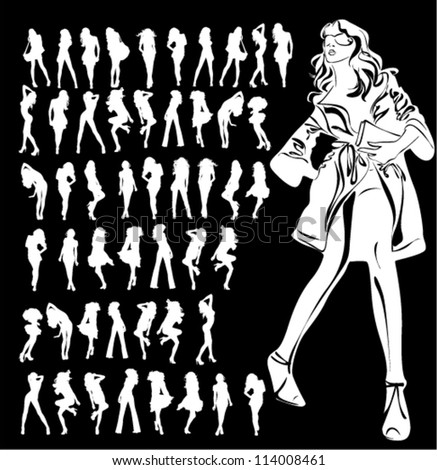 A lot of vector silhouettes of beautiful women on white background