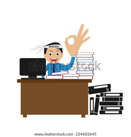 A lot of work to do. High passion to achieve successful career path - stock vector