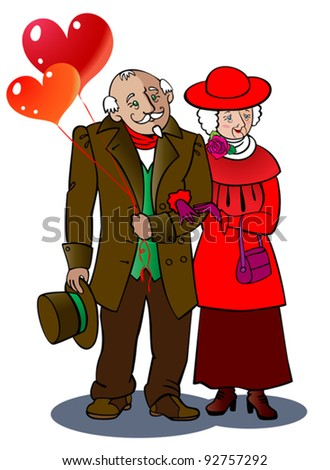 A loving elderly couple walks together, holding balloons in the form of hearts. - stock vector
