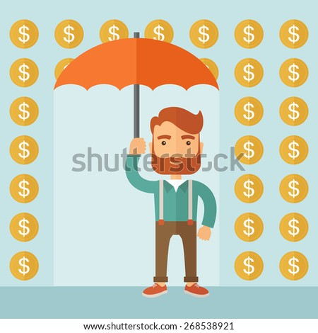 A lucky successful businessman standing with umbrella with under a rain of dollar coin. Business concept. A contemporary style with pastel palette, soft blue tinted background. Vector flat design - stock vector