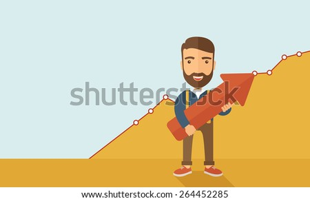 A lucky young  hipster Caucasian man with beard  carrying a red arrow pointing upward showing for his successful plan in business.  Business growth, prosperity concept. A contemporary style with - stock vector