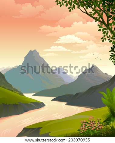 A magnificent view of mountains along the river banks and lush green outfields   - stock vector