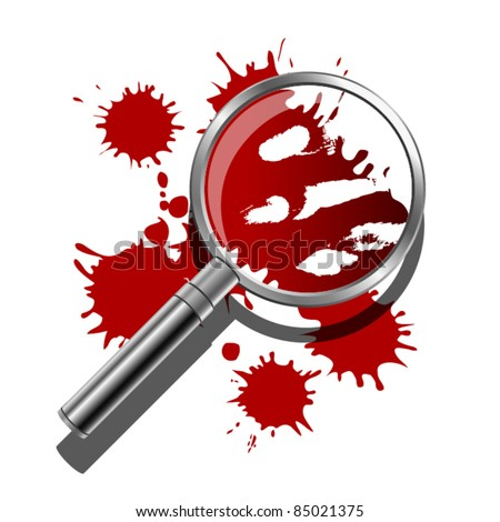 A magnifying glass being used to inspect the bloody evidence of a crime scene. - stock vector