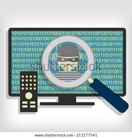 A magnifying glass detected a hacker (thief) on smart tv. Hacker detected on smart tv - stock vector
