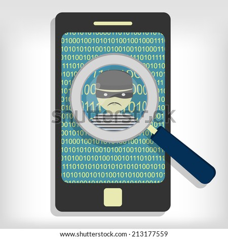 A magnifying glass detected a hacker (thief) on smartphone. Hacker detected on smartphone - stock vector