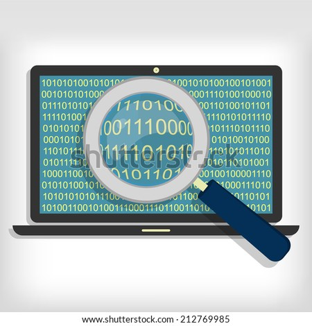 A magnifying glass searching and looking for sequences of bytes in laptop. Searching bytes in laptop - stock vector