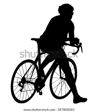 A male bicyclist riding a bicycle isolated against white background silhouette vector illustration. Cyclists resting on the start position. - stock vector