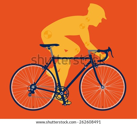 A male bicyclist riding a racing bicycle vector illustration - stock vector