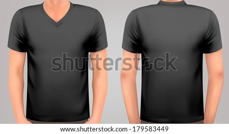 A male body with a black shirt on. Vector. - stock vector