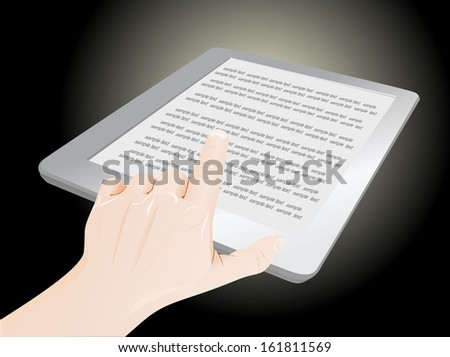 a male hand a touchpad pc showing an E-Book