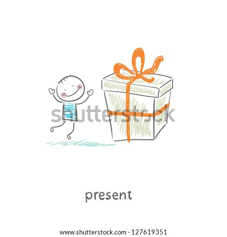A man and a gift. Illustration. - stock vector