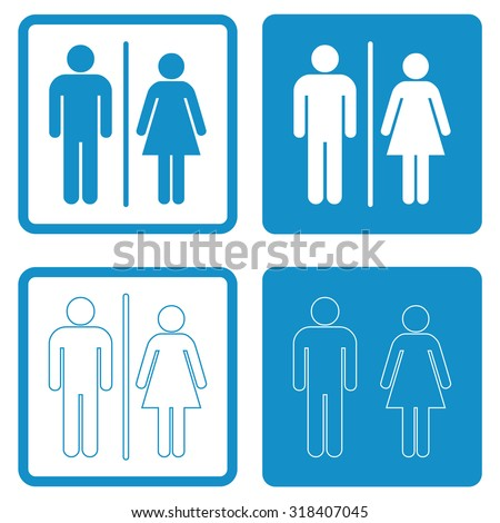 A man and a lady toilet sign . People icon . Vector illustration - stock vector