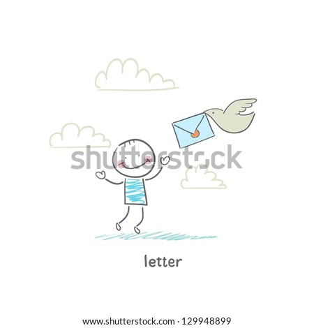 A man and a letter. Illustration. - stock vector