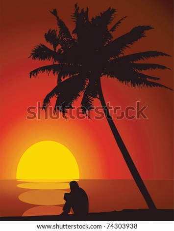 A man and a palm tree at sunset. - stock vector
