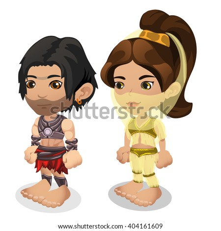 A man and a woman, in the costume of performers of Oriental dance isolated on white background. Vector illustration. - stock vector