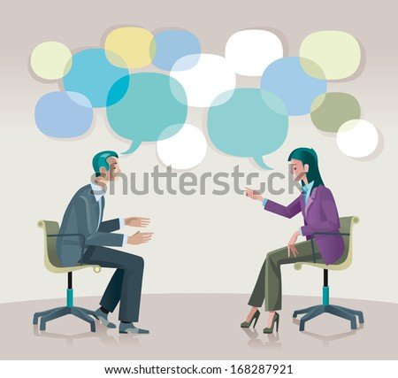 A man and a woman sitting  talk to each other openly and creatively. - stock vector
