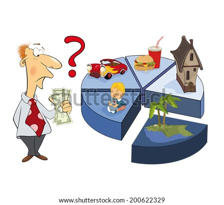 A man and the life expense chart caricature  - stock vector