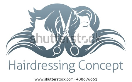 A man and woman and hairdresser scissors concept - stock vector