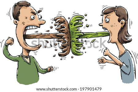 A man and woman battle one another with blasts of vomit. - stock vector