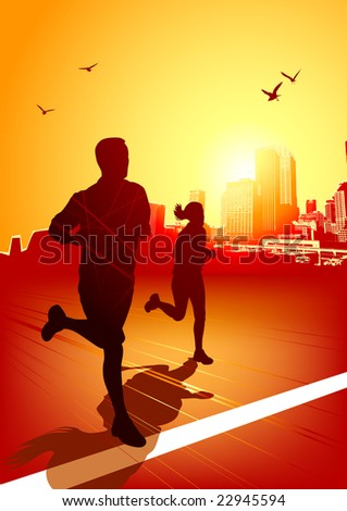 A man and women running on a sunny evening with the city in the background. - stock vector