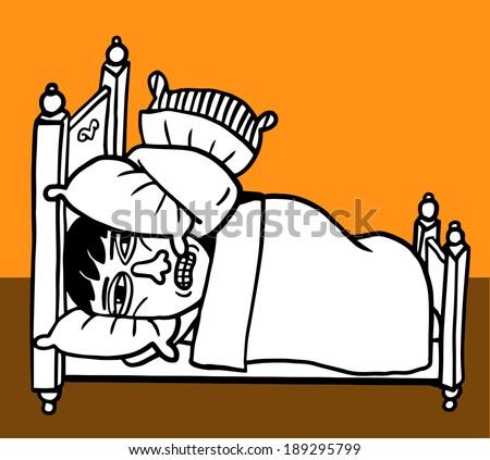 A man can't sleep - stock vector