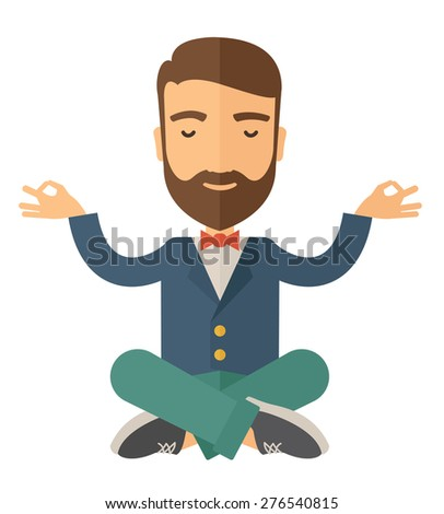 A man closing his eyes thinking about on how the business will grow. Business concept. A Contemporary style. Vector flat design illustration isolated white background. Square layout. - stock vector