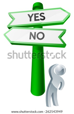 A man considering his options by looking up at a sign reading yes or no - stock vector