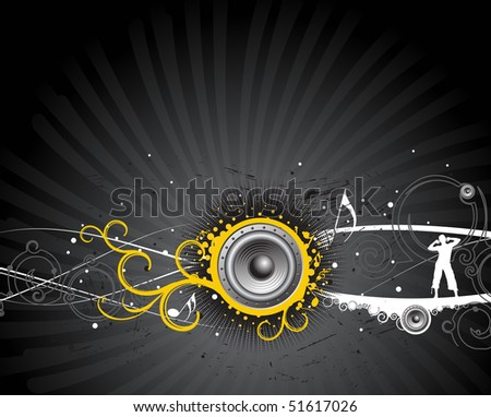 a man enjoy music in wave background , vector illustration - stock vector